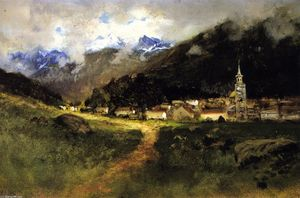 Buy Museum Art Reproductions | St. Michael`s Cathedral, Sitka, 1886 by William Keith (1838-1911, Scotland) | WahooArt.com