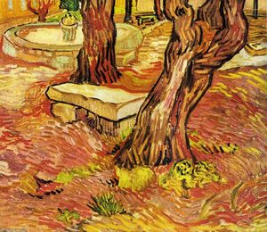 Vincent Van Gogh - The Stone Bench in the Garden at Saint-Paul Hospital