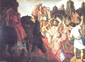 Order Reproductions | The Stoning of St. Stephen, 1625 by Rembrandt Van Rijn (1606-1669, Netherlands) | WahooArt.com