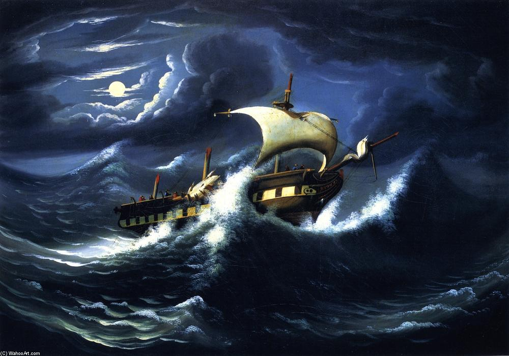 Storm-Tossed Frigate, 1836 by Thomas Chambers (1808-1869) | Famous Paintings Reproductions | WahooArt.com