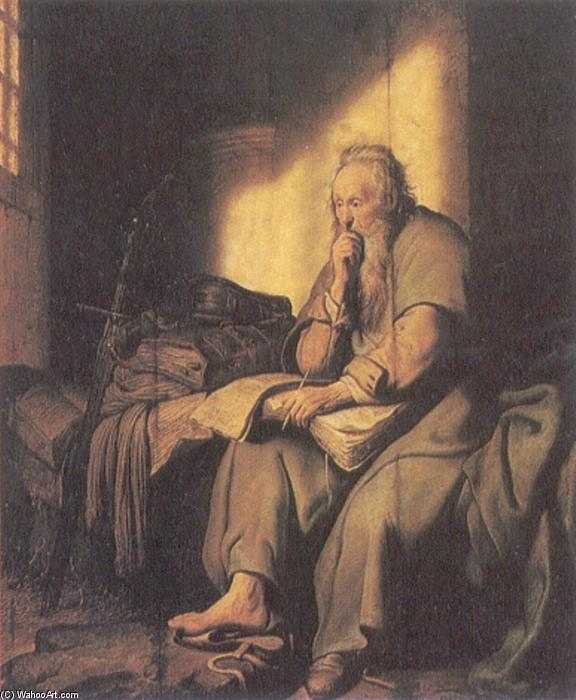St. Paul in Prison, Oil On Panel by Rembrandt Van Rijn (1606-1669, Netherlands)