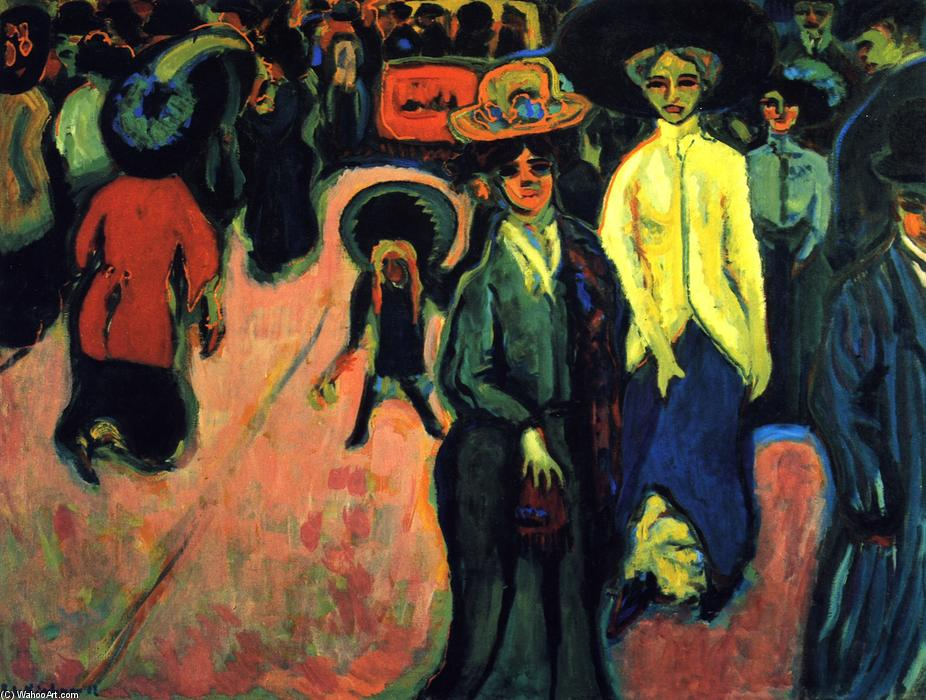 Straße, Oil On Canvas by Ernst Ludwig Kirchner (1880-1938, Germany)