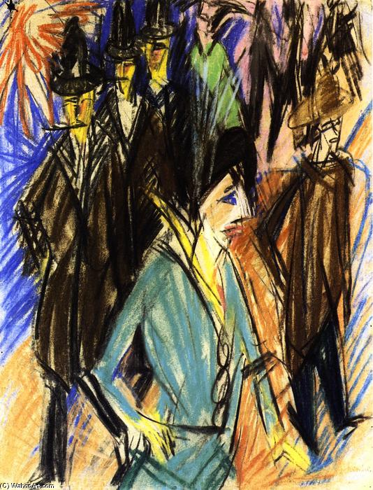 Straßenzene mit grüner Kokotte, Oil On Canvas by Ernst Ludwig Kirchner (1880-1938, Germany)