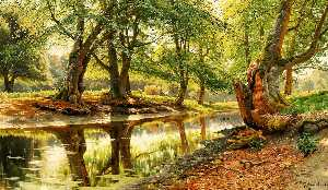 Peder Mork Monsted - A stream in Dyrehaven