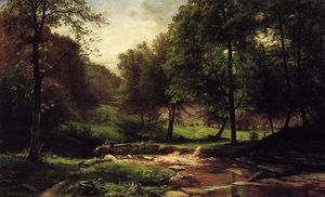 George Hetzel - Stream with Field and Grazing Cattle