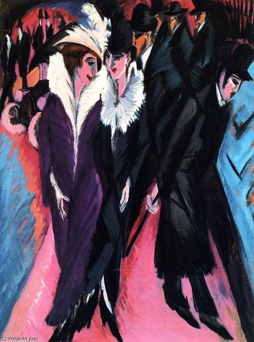 The Street, Oil On Canvas by Ernst Ludwig Kirchner (1880-1938, Germany)