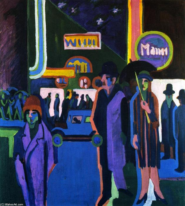 Street Scene at Night by Ernst Ludwig Kirchner (1880-1938, Germany)