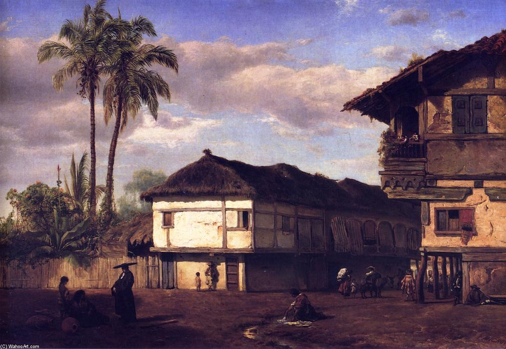 Street View in Guayaquil, Ecuador, Oil On Panel by Louis Remy Mignot (1831-1870, United States)