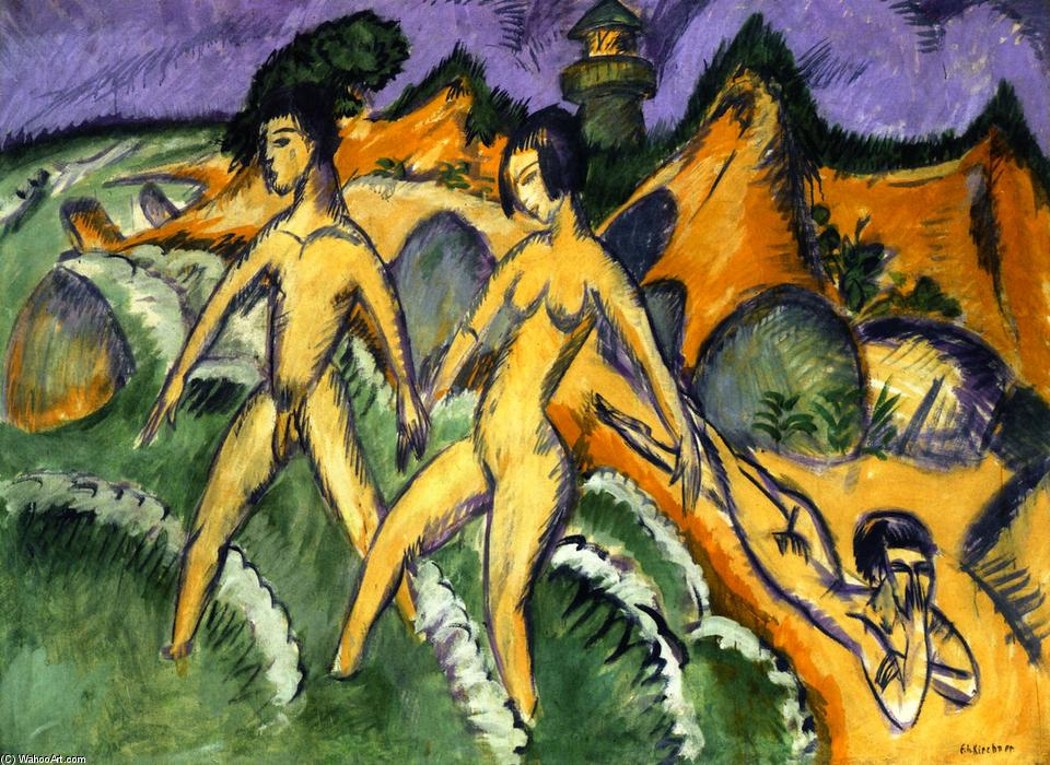Striding into the Sea, 1912 by Ernst Ludwig Kirchner (1880-1938, Germany) | WahooArt.com