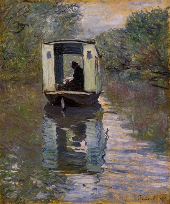 The Studio Boat, 1876 by Claude Monet (1840-1926, France) | Oil Painting | WahooArt.com
