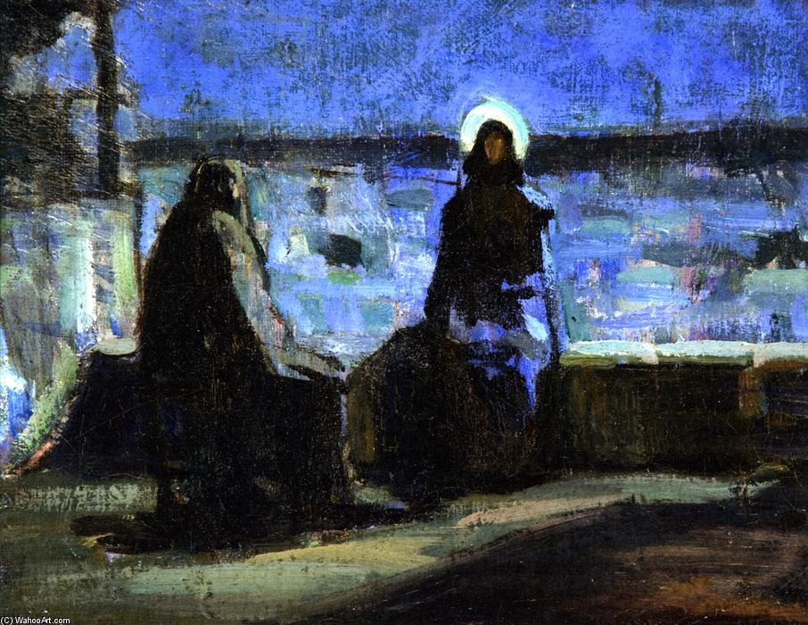 Study for Nicodemus Visiting Jesus, 1899 by Henry Ossawa Tanner (1859-1937, United States) | Famous Paintings Reproductions | WahooArt.com