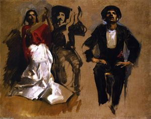 John Singer Sargent - Study for Seated Figures 'El Jaleo'