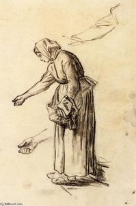 Jean-François Millet - Study for a Woman Feeding Chickens