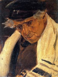 Max Liebermann - Study Head of a Man (also known as Sephardic Jew with a Prayer Shawl, Facing Left)