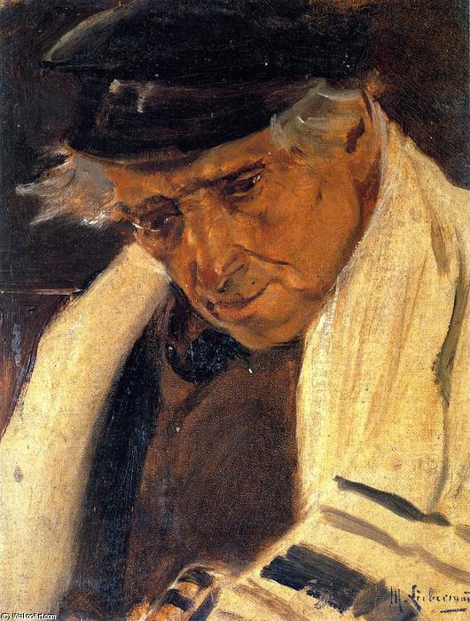 Study Head of a Man (also known as Sephardic Jew with a Prayer Shawl, Facing Left), 1878 by Max Liebermann (1847-1935, Germany) | Paintings Reproductions Max Liebermann | WahooArt.com