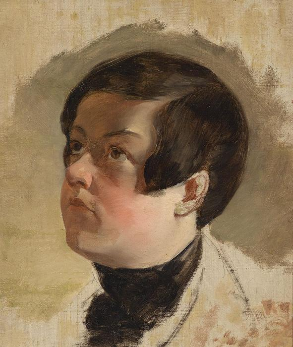 Study of a boy's head, Oil On Canvas by Friedrich Ritter Von Amerling (1803-1887)