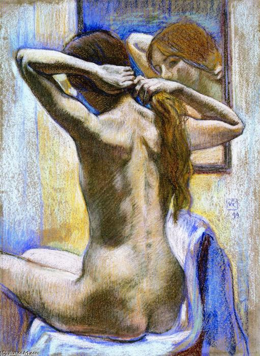 Study of Nude (also known as From the Back: Wiman in Mirror), Drawing by Theo Van Rysselberghe (1862-1926, Belgium)