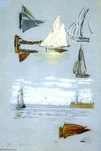 Claude Monet - Study of Sailboats and Harbor