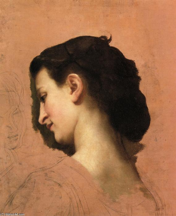 Study of a Young Girl`s Head, 1860 by William Adolphe Bouguereau (1825-1905, France) | Art Reproduction | WahooArt.com