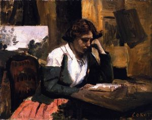 Jean Baptiste Camille Corot - Study, Young Woman Reading