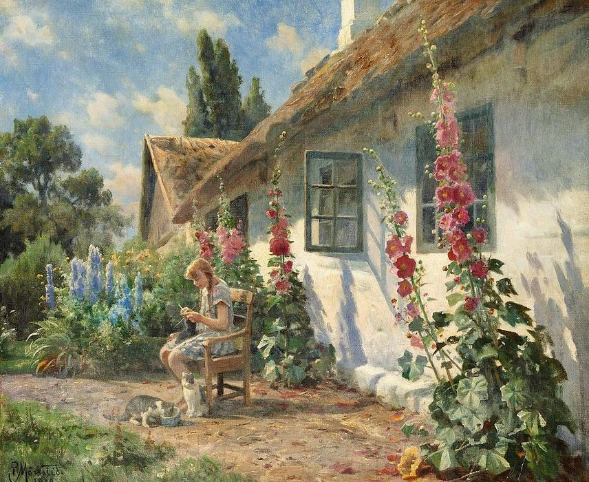 Summer day in the garden with a girl knitting, Oil On Canvas by Peder Mork Monsted (1859-1941, Denmark)
