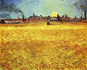 Vincent Van Gogh - Summer Evening, Wheatfield with Setting sun