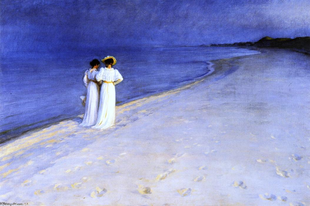 Summer Night on the South Beach at Skagen, Oil On Canvas by Peder Severin Kroyer (1851-1909, Norway)
