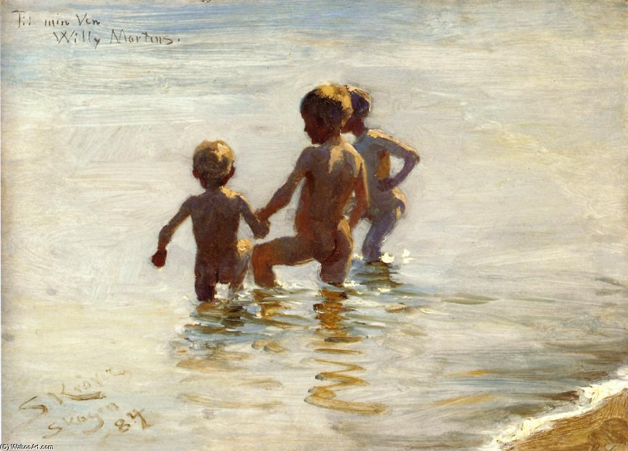 A Summer's Day at Skagen South Beach, Oil On Panel by Peder Severin Kroyer (1851-1909, Norway)
