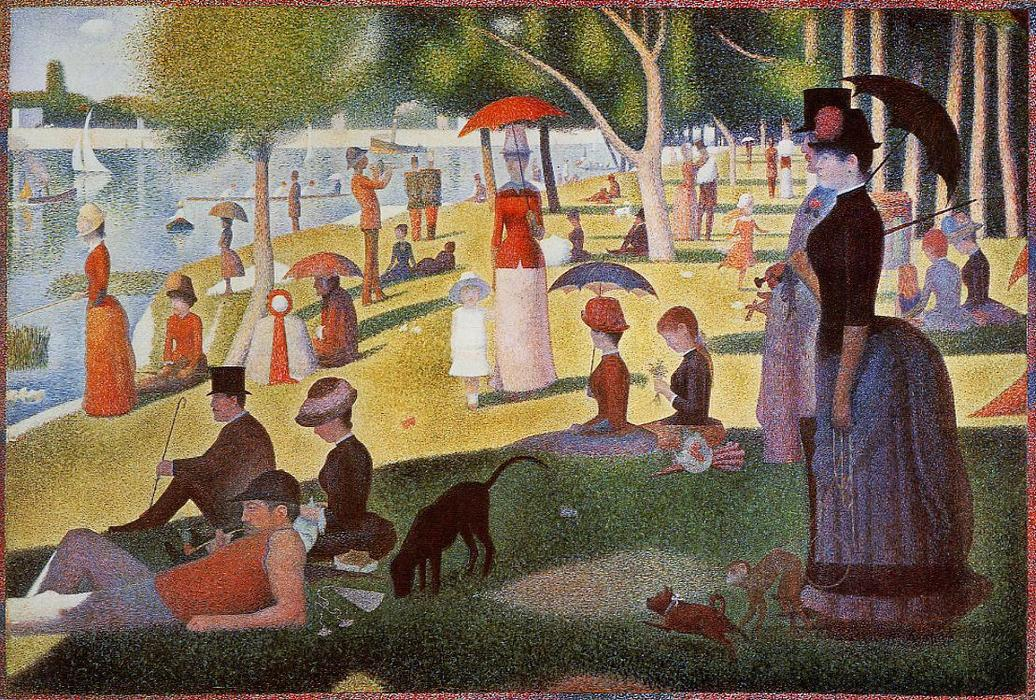 A Sunday Afternoon on the Island of La Grande Jatte, 1886 by Georges Pierre Seurat (1859-1891, France) | Famous Paintings Reproductions | WahooArt.com