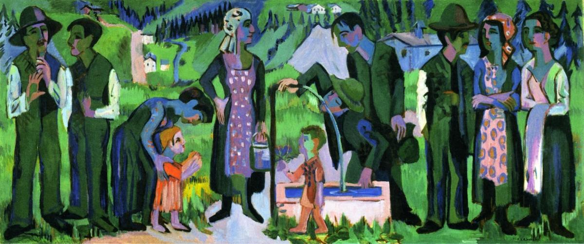 Sunday in the Alps: Scene at the Well, Oil On Canvas by Ernst Ludwig Kirchner (1880-1938, Germany)