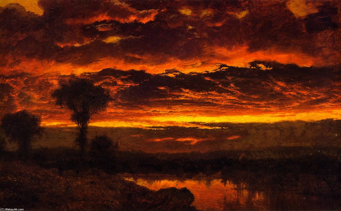 Sunset, Oil On Panel by Louis Remy Mignot (1831-1870, United States)