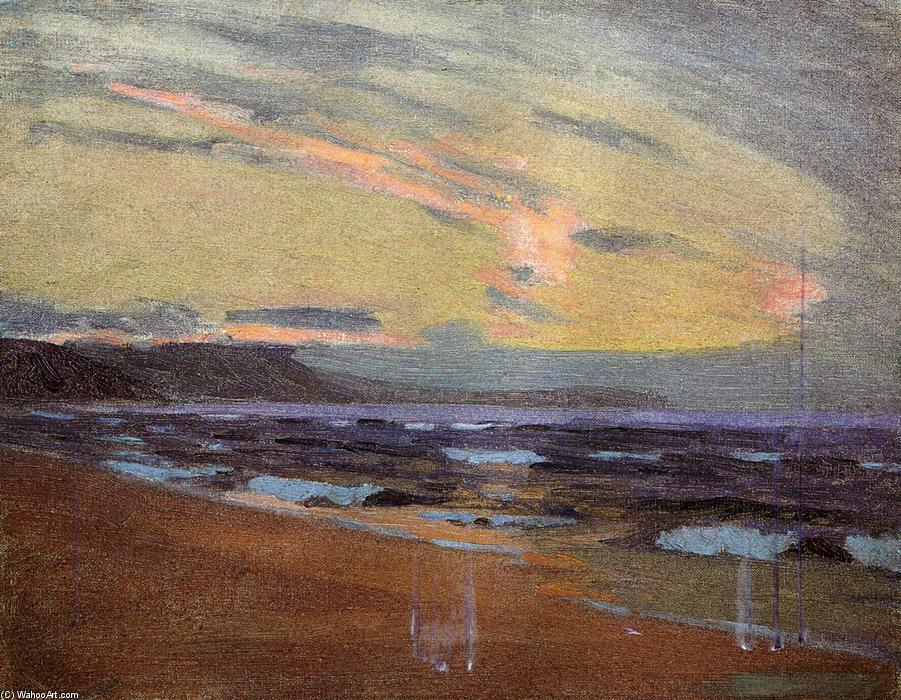 Sunset at Gay Head, Martha`s Vinyard, Massachusetts, 1917 by Arthur Wesley Dow (1857-1922, United Kingdom) | Museum Quality Reproductions | WahooArt.com