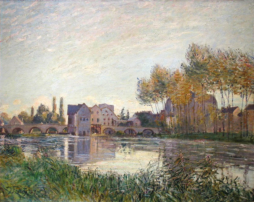 Sunset at Moret, Oil On Canvas by Alfred Sisley (1839-1899, France)