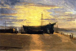 David Cox - Sunset, Hastings: Beached Fishing Vessels