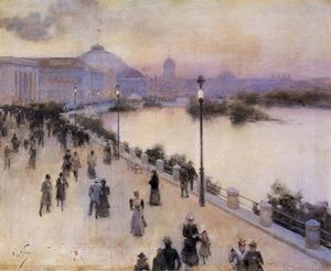 Willard Leroy Metcalf - Sunset Hour on the West Lagoon, World Columbian Exposition 1893