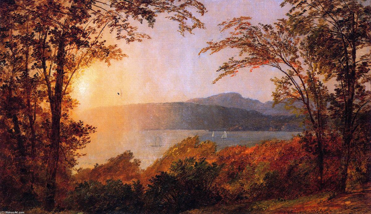 Sunset, Hudson River (also known as Near Hastings-on-Hudson), Oil On Canvas by Jasper Francis Cropsey (1823-1900, United States)