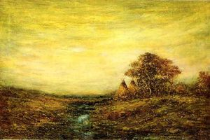 Ralph Albert Blakelock - Sunset, Indian Encampment