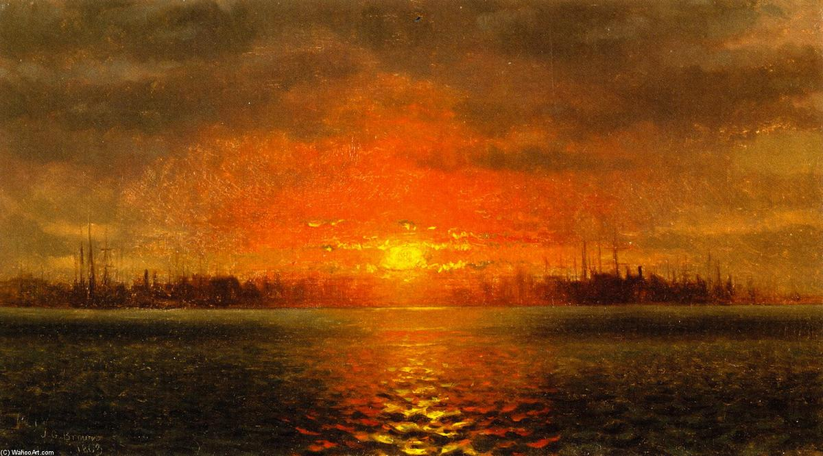 Sunset, New York Harbor, Oil On Canvas by John George Brown (1831-1913, United Kingdom)