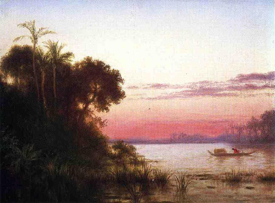 Sunset on the Guayaquil, 1869 by Louis Remy Mignot (1831-1870, United States) | WahooArt.com