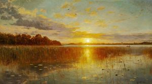 Peder Mork Monsted - Sunset over a Danish fjord