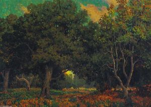 Granville Redmond - Sunset Through the Trees
