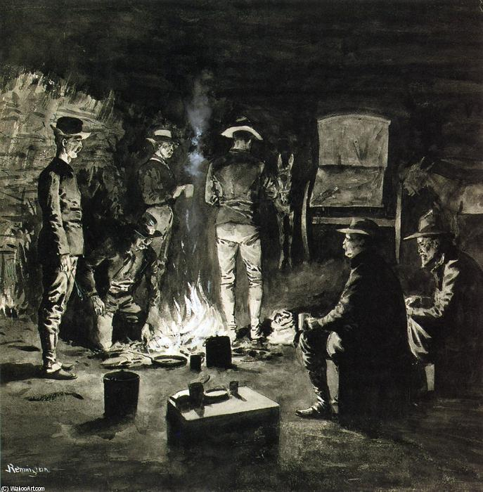 Supper in the Corral (also known as Camp-fire Texas), Ink by Frederic Remington (1861-1909, United States)