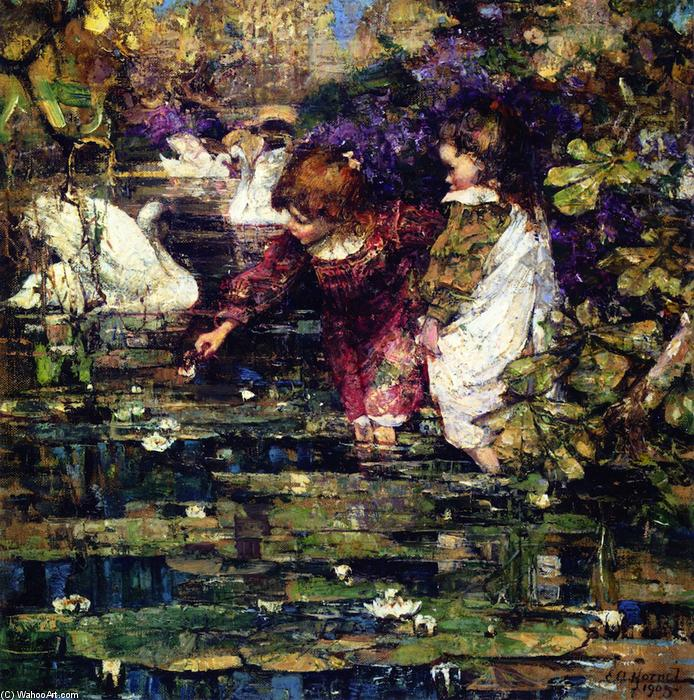 The Swan Lake, 1905 by Edward Atkinson Hornel (1864-1933, Australia) | Oil Painting | WahooArt.com