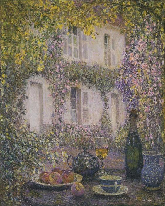 Table at the Mansion with Flowers, Oil On Canvas by Henri Eugène Augustin Le Sidaner (1862-1939, Mauritius)
