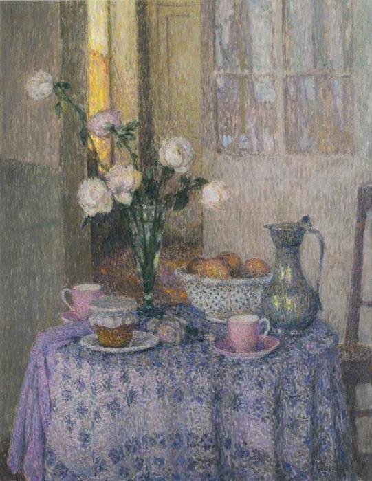 Table in an interior, Oil On Canvas by Henri Eugène Augustin Le Sidaner (1862-1939, Mauritius)