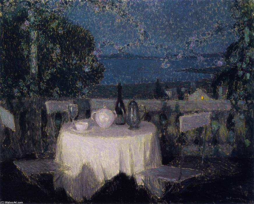Table in the Moonlight, Oil On Canvas by Henri Eugène Augustin Le Sidaner (1862-1939, Mauritius)