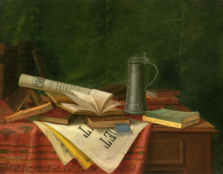 Tabletop Still Life, Oil On Canvas by Nicholas Alden Brooks (1840-1904, United States)