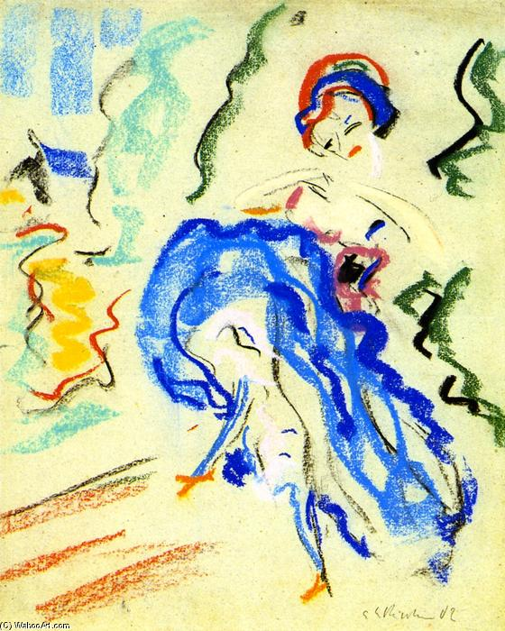 Tänzerin mit blauem Rock, 1908 by Ernst Ludwig Kirchner (1880-1938, Germany) | Oil Painting | WahooArt.com