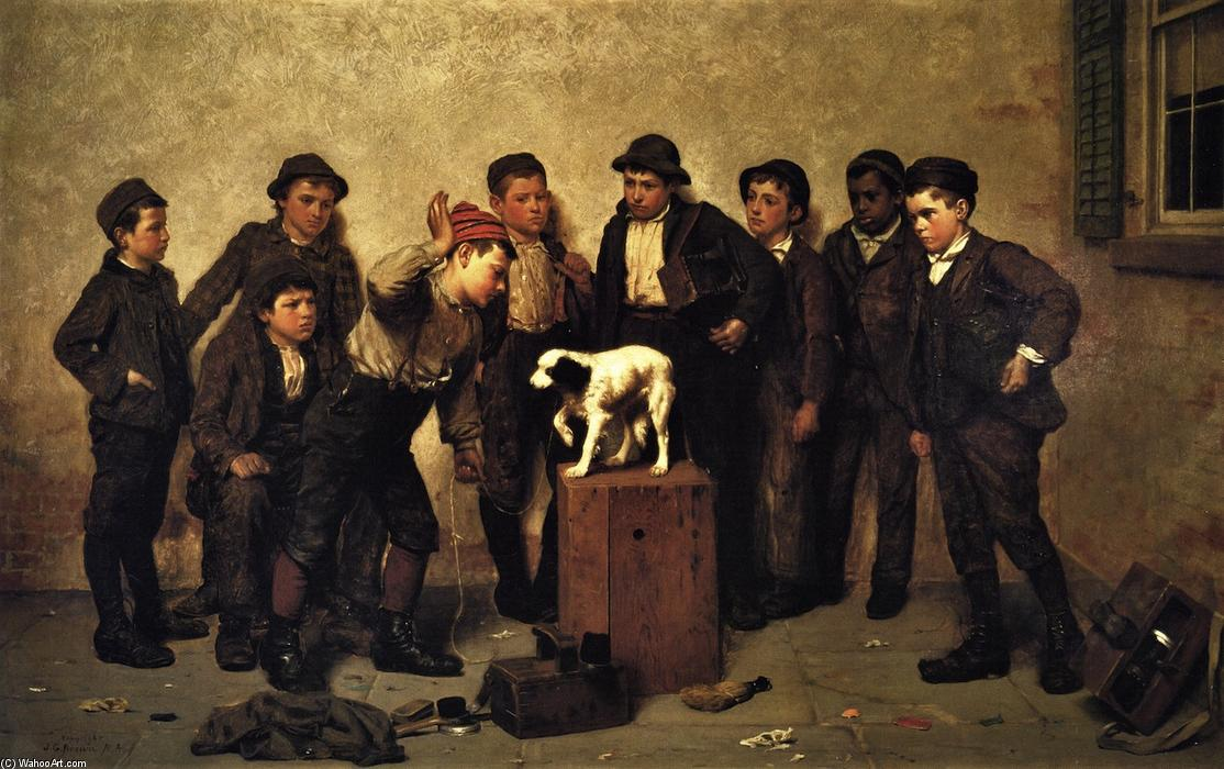 Teaching Tricks (also known as Training the Dog), Oil On Canvas by John George Brown (1831-1913, United Kingdom)