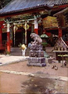 Robert Frederick Blum - The Temple Court of Fudo Sama at Meguro, Tokyo
